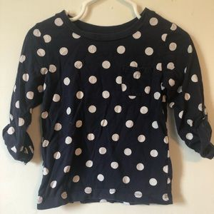 Carter's Shirts & Tops - Carters 2T 3/4 length sleeve Navy Blue Polka Dot
